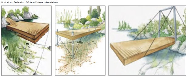 dock design examples: removable floating dock, removable pipe dock, cantilever dock