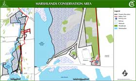 detailed map to Marshlands Conservation Area