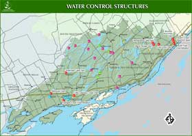 Cataraqui Region Conservation Authority water control structures map