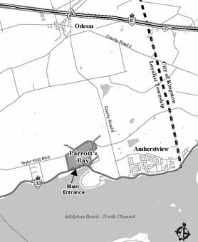 detailed map to Parrott's Bay Conservation Area